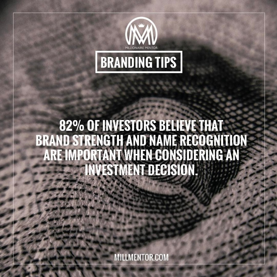 82% of investors believe that brand strength and name recognition are important when considering an investment decision