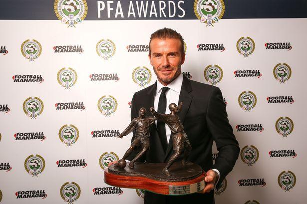 David Beckham has been presented with the PFA MeritAward