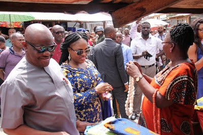 Gov Wike and wife shops at Creek Road market PortHarcourt