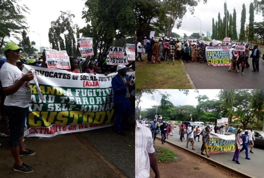 Protesters flood British High Commission, insist UK must produce terrorist NnamdiKanu