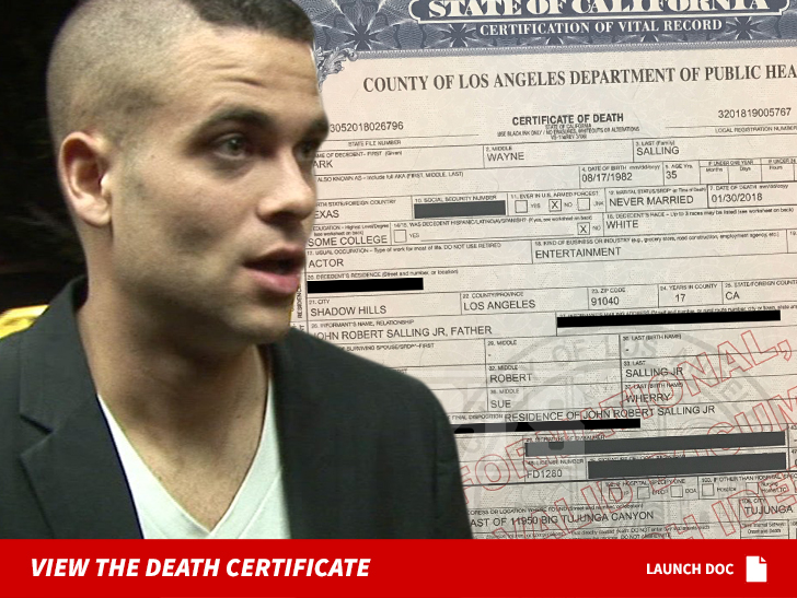Mark Sallings Death Certificate Confirms Death By Hanging