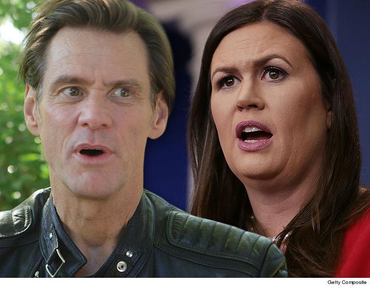 Jim Carrey shares portrait of 'Monstrous' Sarah HuckabeeSanders
