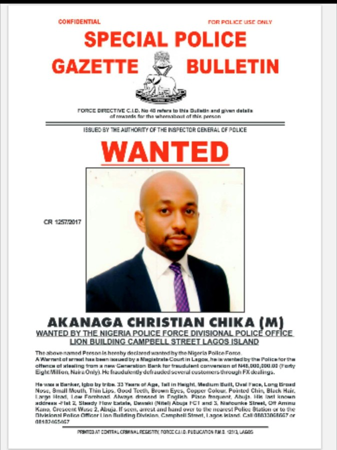 Police declare nine Bankers wanted for disappearing with customers 500m (pictures)